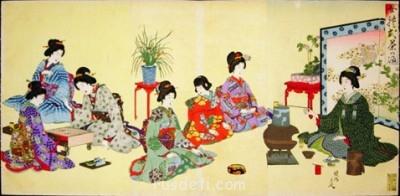 Японская гравюра конца 19 в. Семь дам готовят чай и играют в го  - e7i.jpg